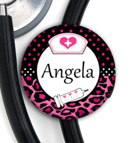 Stethoscope ID Tag - Leopard Nurse - Personalized