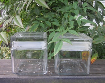 Two Large Vintage Glass Storage Jars - Heavy Lidded