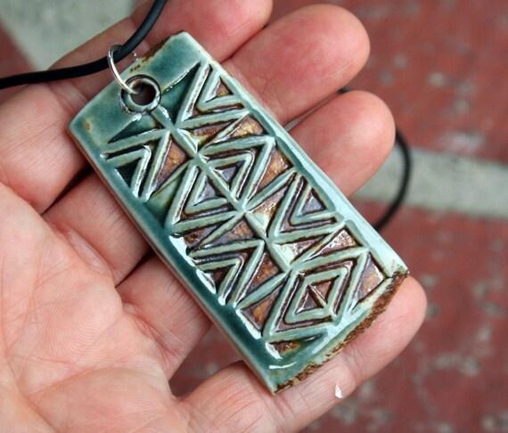 Copper Teal Triangles Porcelain Pendant