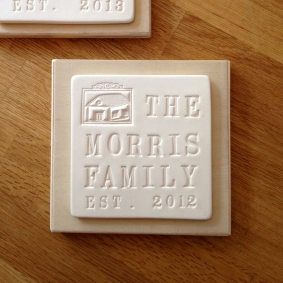 personalized FAMILY or HOUSE text tile wall plaque in ceramic and wood by Paloma's Nest - house warming, wedding, or baby shower gift