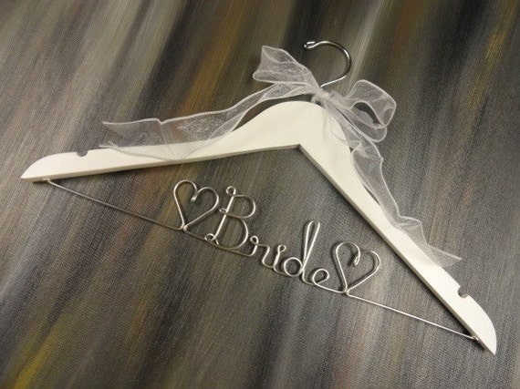 Bride hanger wire hangers wedding dress hangers bridal for Personalized wire wedding dress hanger