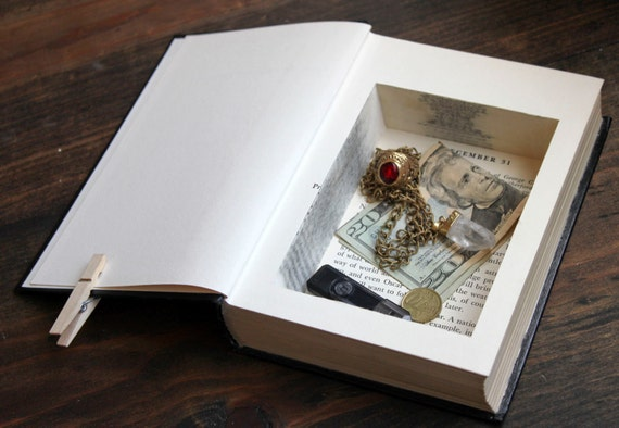 hollow book safe ''freelancer's treasury of article ideas'' - secret stash book - great for a writer