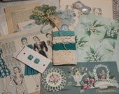 Vintage Shades of Aqua & Teal Paper Kit Altered Old Paperie Lot Collage Pack Ephemera Inspiration Embellish