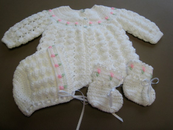Crochet Baby Sweater Set With Hat And Booties By