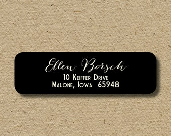 Script return address labels with handwritten look, self-adhesive return address labels, custom colors - delicate