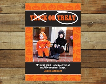 Trick or treat Halloween costume photo card