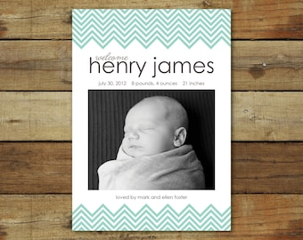 baby boy birth announcement chevron photo card