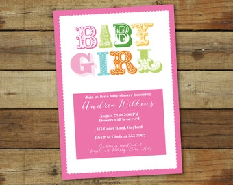 baby shower invitation for girls, baby girl baby shower invitation, modern baby girl printable shower invite