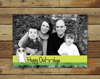 Owl Christmas card, Happy Owl-o-days, photo card