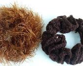 Brown Hair Scrunchies, Ponytail Holder, Crochet, Set of 2