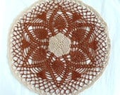 Doily: Pineapple and Hearts  Brown  and Beige Crochet Mat