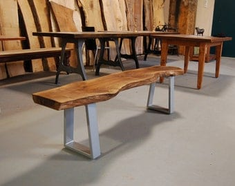 CUSTOM Black Walnut Bench on Steel Legs