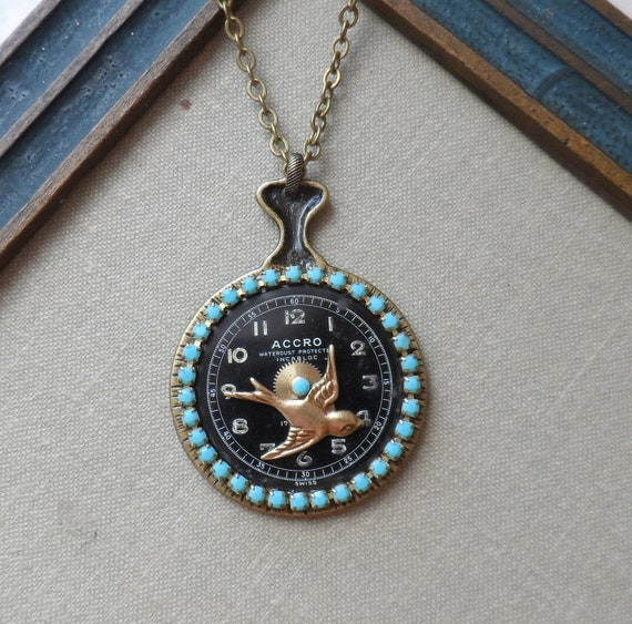 Through the Looking Glass, Steampunk Necklace with Mirror and Embellished Vintage Watch Face, Albuquerque