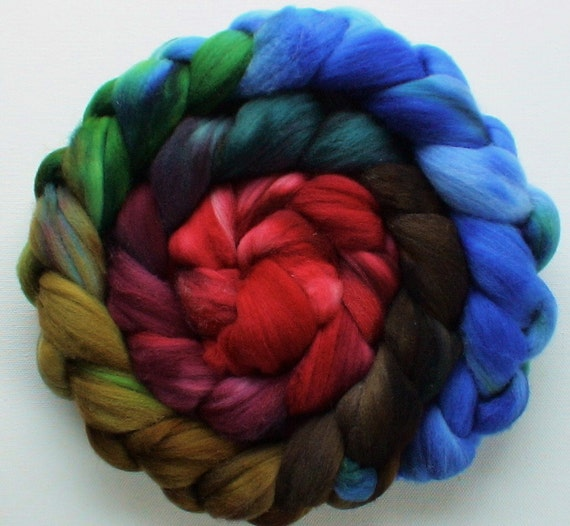 Wool Roving merino spinning or felting Red Earth 3.8ozs gradient roving