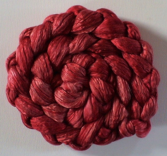 Roving for spinning  50/50 hand dyed silk merino roving 2ozs Colour Wheel red