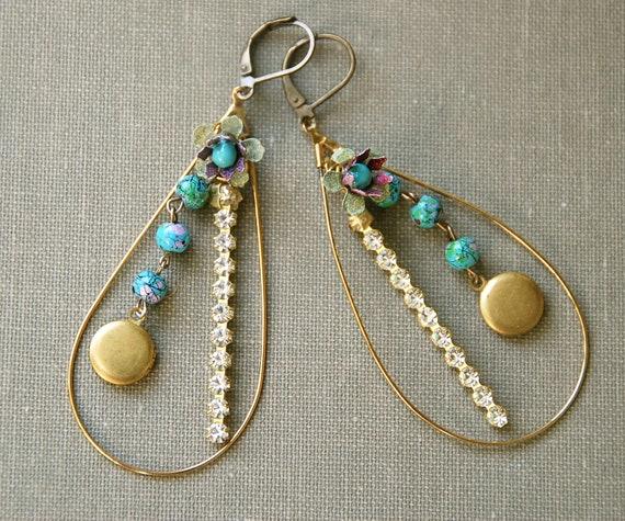 Adrienne.large vintage brass hoop charm earrings. Tiedupmemories