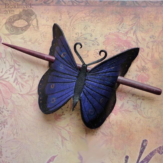 Indigo Butterfly Leather Hair Slide Or Barrette