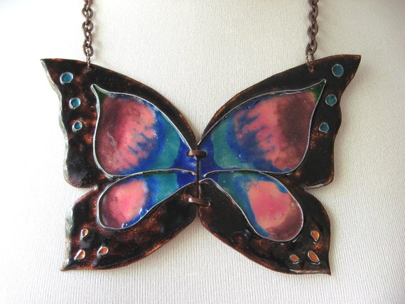 Enamel Butterfly Necklace, 60s 70s Jewelry, Statement Necklace, Handcrafted Jewelry