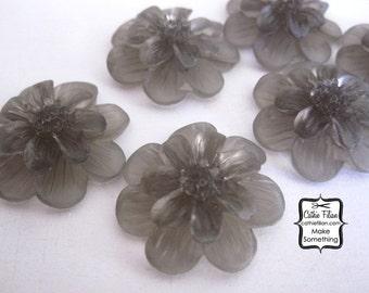 Smoke Gray Resin Flowers - matte gel - Scrapbooking, Jewelry Design, Bobby Pin - set of 6 24mm