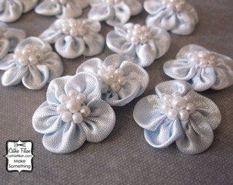 Baby Blue Flowers - satin w/ pearl center - 12 pcs. Scrapbooking Embellishment - Baby Shower Favors