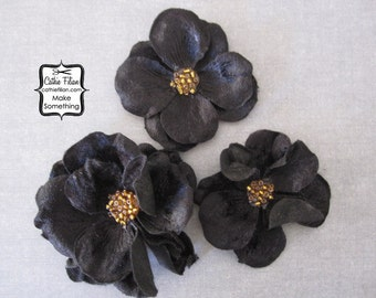 Black Velvet flowers - 3 pcs - CRINKLED - Millinery, Altered Art, Hair Flowers, Silk, Embellishments