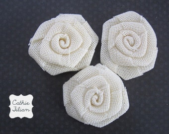 Linen Flowers - 3 pcs - Ivory - hair flowers, headbands, pin, scrapbooking Maya Road Burlap Roses