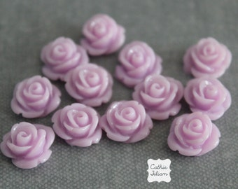 12 Lilac Purple Resin Flowers Rose - EMBELLISHMENT SET - Scrapbooking, Jewelry Design, Bobby Pin