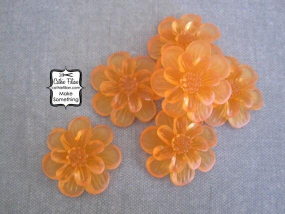 Tangerine Orange Resin Flowers - matte gel - Scrapbooking, Jewelry Design, Bobby Pin - set of 6 24mm