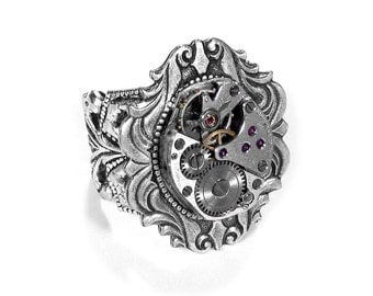 Steampunk Jewelry Ring Vintage Ruby Jewel Watch Adjustable SILVER Art Nouveau GORGEOUS Wedding Anniversary - Steampunk Jewelry by edmdesigns