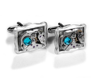 Steampunk Jewelry Mens Cufflinks Ruby Watch Silver Frame Turquoise Crystal Wedding, Groom, Anniversary Fiancee Gift - Jewelry by edmdesigns