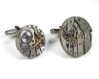 Mens Cufflinks Nihilist Post-Apocalyptic, Steampunk Jewelry, Vintage Watches INDUSTRIAL Cuff Links Holiday Gift Men - Jewelry by edmdesigns