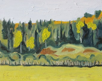 """Art Small Plein Air Landscape Oil Painting Original Impressionist Abstract Appalachian Quebec Canada Fournier """" Five Yellow Trees 10"""" x 12"""""""