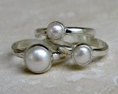 White Pearl Stacking Rings, Sterling Silver, Set of Three, Shiny Finish, Stackable Rings, Hammered Band, Natural Pearls