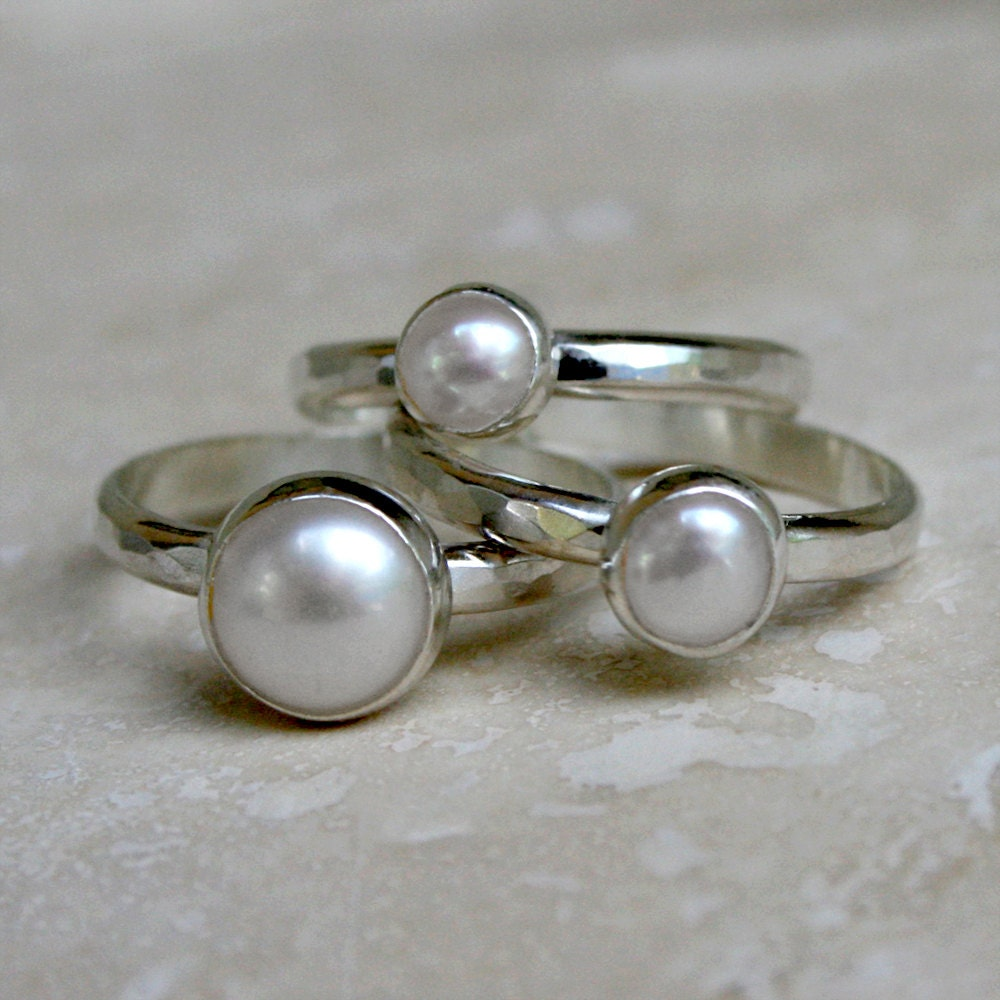 white pearl stacking rings sterling silver set of by