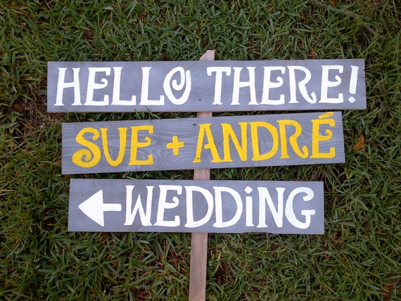 Wedding Signs on MARTHA STEWART Weddings. painted Wood Reception Decorations. Grey And Yellow Outdoor Wedding Decorations. Rustic Wedding
