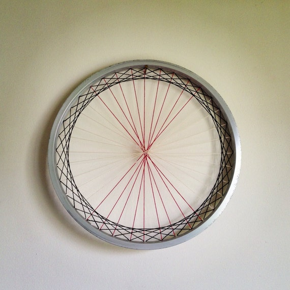 Items similar to recycled bicycle wheel laced wall art for Bicycle wheel wall art