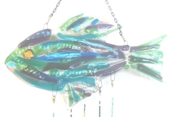 """WIND CHIME Fused GLASS """" Beautiful Fish Obsession"""" lots of dichroic sparkle blues purple and greens"""