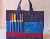 Crayon Tote Crayon Bag READY to SHIP ARTOTE  in I Am A Robot