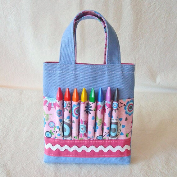 CLEARANCE ARTOTE Mini Crayon Organizer Coloring Tote Crayon Bag in Little Blossom Blue LasT OnE