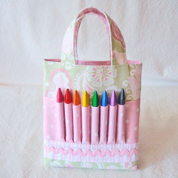 CLEARANCE ARTOTE Mini Coloring Tote Crayon Bag Art Supply Tote in Spring Fling LAST One