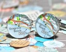 Seaside Florida Vintage Map Sterling Silver Round Cufflinks.