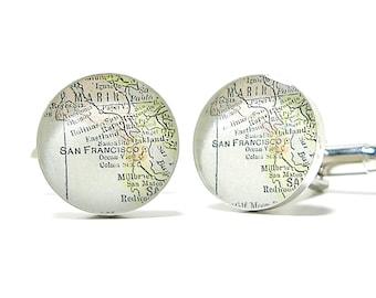 No. 02 Antique Map Cufflinks San Francisco 1899