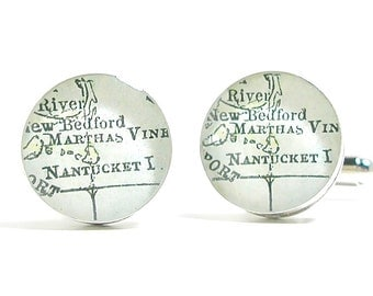 Martha's Vineyard 1899 Antique Map Cufflinks