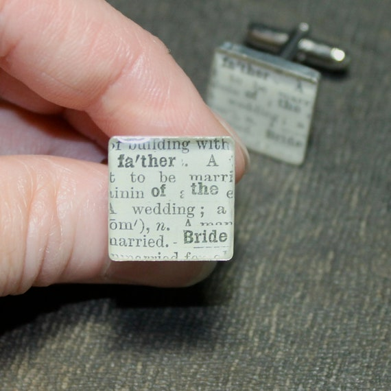 Weddings Wedding Party  Father of the Bride Dictionary Sterling Silver Square Cuff Links
