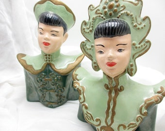Handpainted vintage pair of Asian figurines for decoration or bookends. Green, busts, figurines