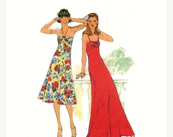 70s summer dress vintage sewing pattern Simplicity 8022 Empire waist Bust 36 Uncut