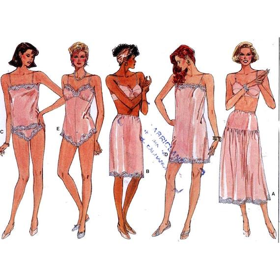 80s Slip teddy half slip panties Camisole Lingerie vintage sewing pattern Vogue 9765 Sz 16 to 22 UNCUT