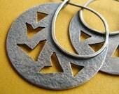 Argentium Sterling Silver Earrings, Tribal Inspired Chevron Earrings, Silver Hoop Earrings, Contemporary Silversmith Artisan Jewelry
