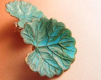 Mixed Metal Verdigris Earrings, Brahmi Leaf Earrings, Blue Green Patina Earrings, Leaf Jewelry, Post Earrings, Contemporary Earrings