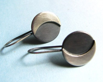 Sterling Silver Moon Earrings, Small Sterling Silver earrings, Contemporary Dangle Earrings, Simple Jewelry, Modern Minimalist Jewelry